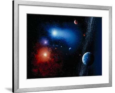 Space Illustration Titled Novae Stella-Ron Russell-Framed Premium Photographic Print