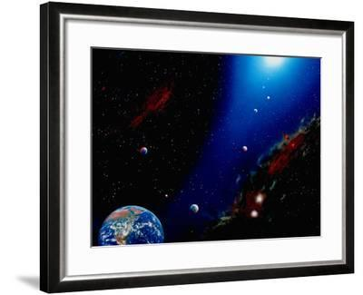 Illustration of Earth, Planets and Sun-Ron Russell-Framed Photographic Print