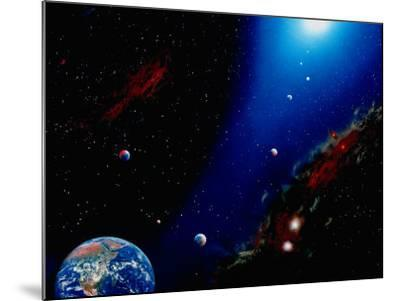 Illustration of Earth, Planets and Sun-Ron Russell-Mounted Photographic Print