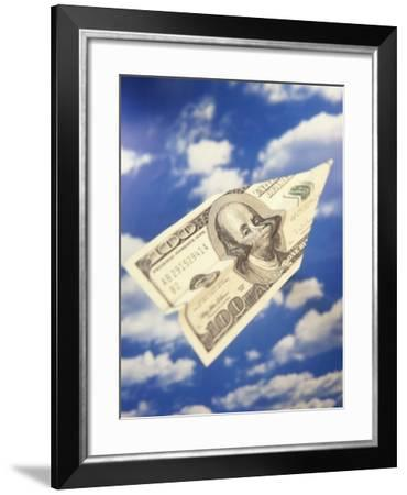 Paper Plane Made from Hundred Dollar Bill-Terry Why-Framed Photographic Print