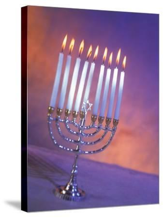 Silver Menorah with White Lighted Candles-Ellen Kamp-Stretched Canvas Print