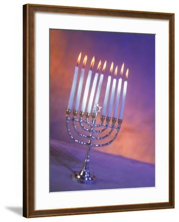 Silver Menorah with White Lighted Candles-Ellen Kamp-Framed Photographic Print