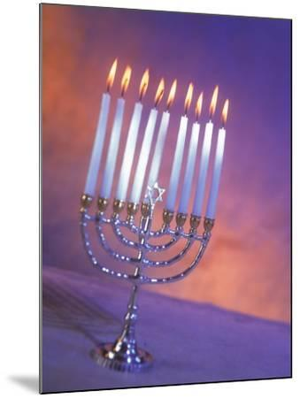 Silver Menorah with White Lighted Candles-Ellen Kamp-Mounted Photographic Print