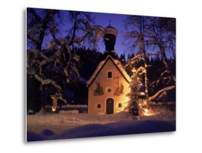 Christmas Chapel Model, Bavaria, Germany-David Ball-Metal Print