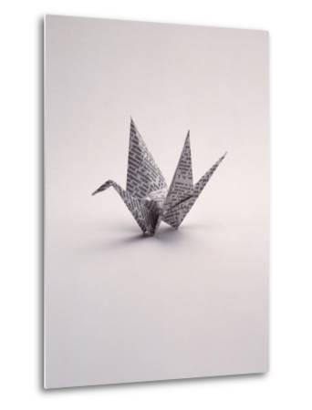 Origami Crane on White-Howard Sokol-Metal Print