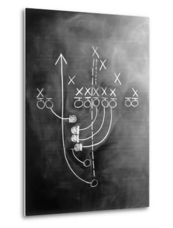 Football Play on Chalkboard-Howard Sokol-Metal Print