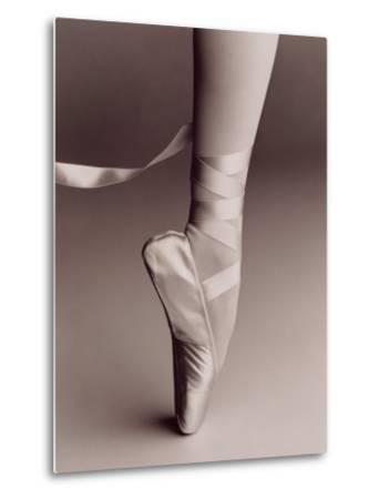 Black and White Image of Ballerina on Point-Howard Sokol-Metal Print