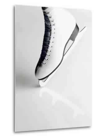 Black and White Image of Figure Skater's Skate-Howard Sokol-Metal Print