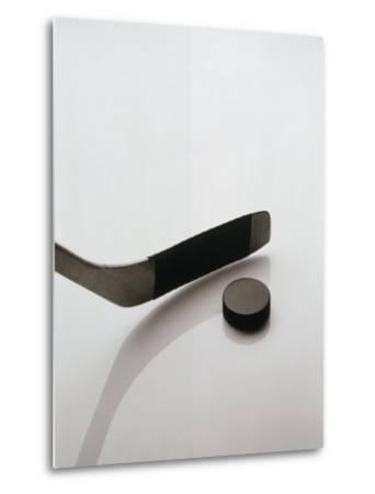 Hockey Stick and Puck-Howard Sokol-Metal Print