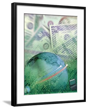 Globe with Money, Bills and Circuit Board-Guy Crittenden-Framed Photographic Print