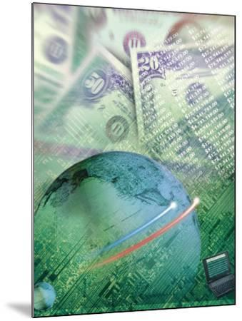 Globe with Money, Bills and Circuit Board-Guy Crittenden-Mounted Photographic Print
