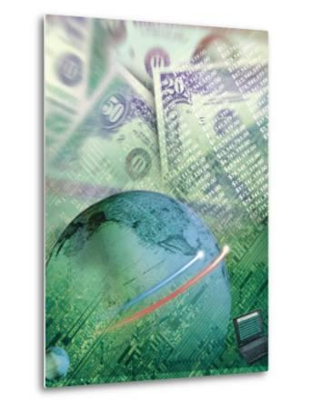 Globe with Money, Bills and Circuit Board-Guy Crittenden-Metal Print