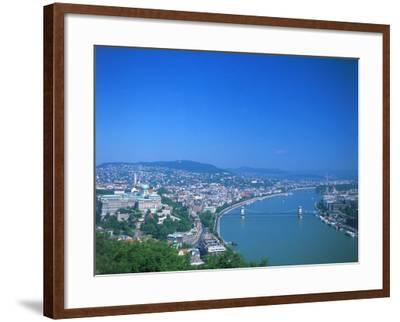 Aerial View of Gellert Hill, Budapest, Hungary-David Ball-Framed Photographic Print