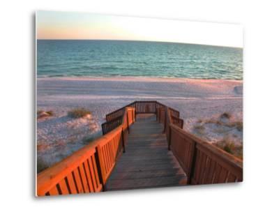Boardwalk Leading to Shore-Pat Canova-Metal Print