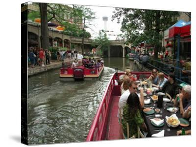 Lunch Cruise Along River Walk, San Antonio, TX-Pat Canova-Stretched Canvas Print