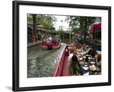 Lunch Cruise Along River Walk, San Antonio, TX-Pat Canova-Framed Photographic Print