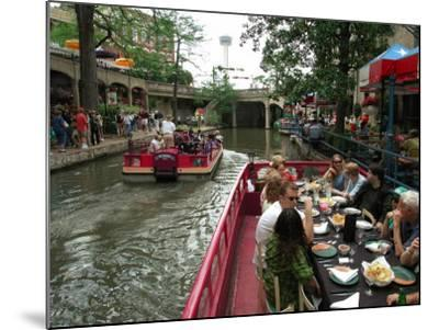 Lunch Cruise Along River Walk, San Antonio, TX-Pat Canova-Mounted Photographic Print