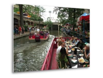 Lunch Cruise Along River Walk, San Antonio, TX-Pat Canova-Metal Print