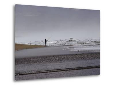 A Fisherman Casts His Line into the Surf-Marc Moritsch-Metal Print