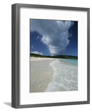 A Strip of Cumulous Clouds Follows This Receding, Tropical Shoreline-Michael Melford-Framed Photographic Print