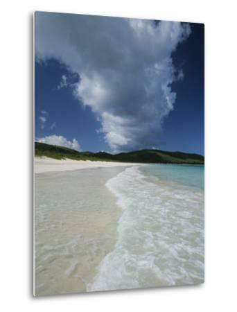 A Strip of Cumulous Clouds Follows This Receding, Tropical Shoreline-Michael Melford-Metal Print