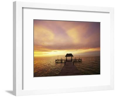 Sunset over the Gulf of Mexico Near Isla Holbox-Michael Melford-Framed Photographic Print