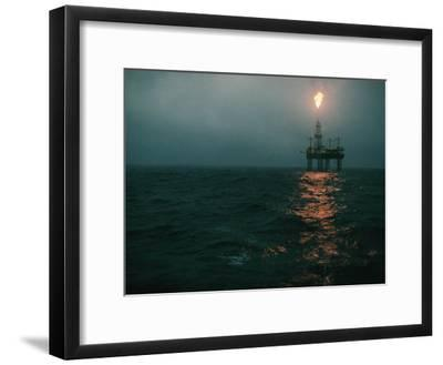 Night View of a Plume of Fire from an Offshore Oil Rig in This Norwegian Oil Field-Emory Kristof-Framed Photographic Print