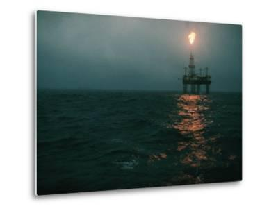 Night View of a Plume of Fire from an Offshore Oil Rig in This Norwegian Oil Field-Emory Kristof-Metal Print