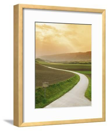 The Golden Sun Glows Through Cloud Cover to Illuminate a Country Road-Richard Nowitz-Framed Photographic Print