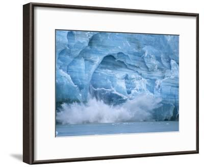 Hubbard Glacier Calving Chunks of Ice into the Water-Michael Melford-Framed Photographic Print