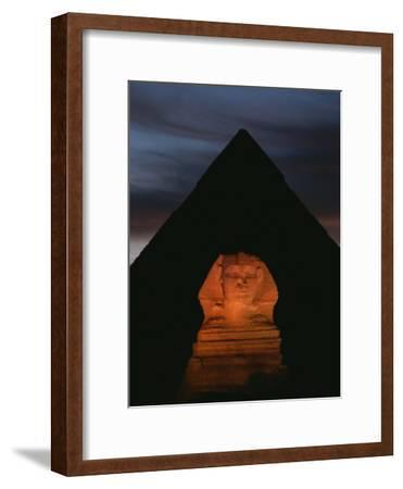 Equinox Sunset at the Sphinx, with Menkaures Pyramid in Background-Kenneth Garrett-Framed Photographic Print