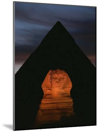 Equinox Sunset at the Sphinx, with Menkaures Pyramid in Background-Kenneth Garrett-Mounted Photographic Print