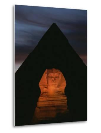 Equinox Sunset at the Sphinx, with Menkaures Pyramid in Background-Kenneth Garrett-Metal Print