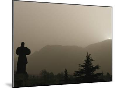 Silhouetted Statue of Damo at the Entrance to Shaolin-xPacifica-Mounted Photographic Print