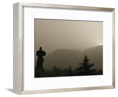 Silhouetted Statue of Damo at the Entrance to Shaolin-xPacifica-Framed Photographic Print