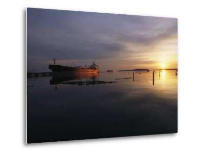 Twilight View of a Ship at Anchor in Still Water at Low Tide-Bill Curtsinger-Metal Print