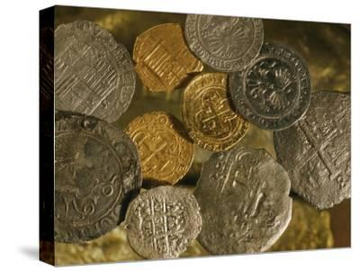 Gold and Silver Coins Minted in Both Spain and the Colonies-Ira Block-Stretched Canvas Print