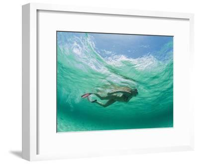 A Woman Snorkels under the Waves-Barry Tessman-Framed Photographic Print