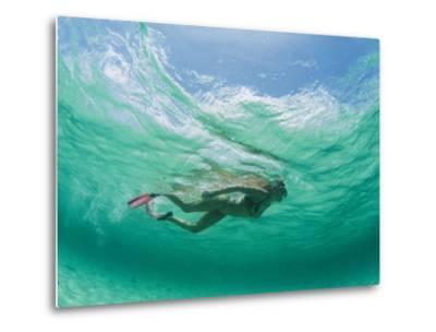 A Woman Snorkels under the Waves-Barry Tessman-Metal Print