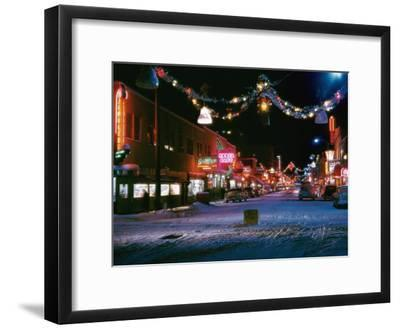 Second Avenue, the Main Business Street in Fairbanks, Decorated for Christmas-W^ Robert Moore-Framed Photographic Print