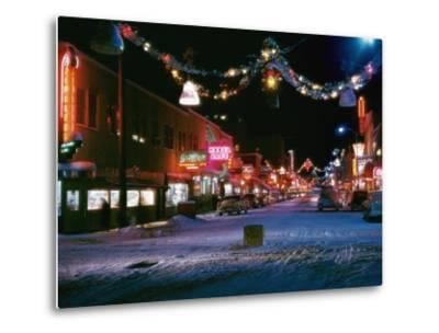 Second Avenue, the Main Business Street in Fairbanks, Decorated for Christmas-W^ Robert Moore-Metal Print