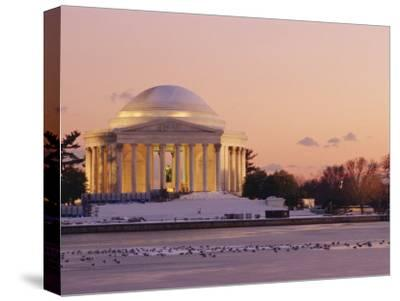 A Winter View of the Jefferson Memorial and the Tidal Basin at Twilight-Richard Nowitz-Stretched Canvas Print