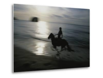 Horseback Rider Silhouetted on Beach, Costa Rica-Michael Melford-Metal Print