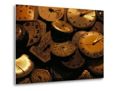 A Still Life of Old Watch Faces-Joel Sartore-Metal Print