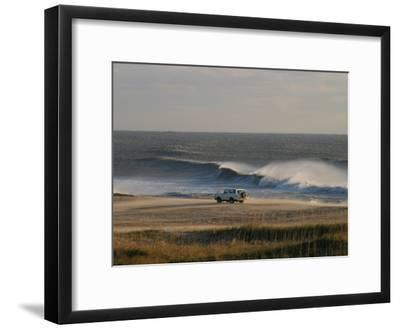 Wind, Waves and Fisherman in an Suv on a Beach in the Outer Banks-Skip Brown-Framed Photographic Print