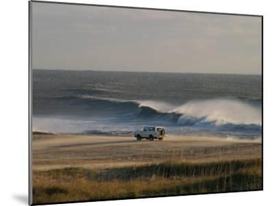 Wind, Waves and Fisherman in an Suv on a Beach in the Outer Banks-Skip Brown-Mounted Photographic Print