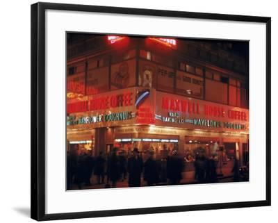 Busy Street Corner of Maxwell House and Mayflower Doughnuts Restaurant-Andreas Feininger-Framed Photographic Print