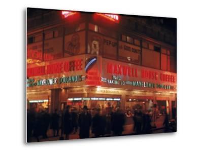 Busy Street Corner of Maxwell House and Mayflower Doughnuts Restaurant-Andreas Feininger-Metal Print