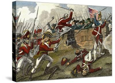 British and American Troops at the Battle of Bunker Hill During the American Revolutionary War--Stretched Canvas Print