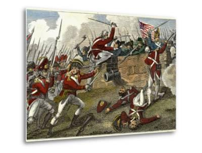 British and American Troops at the Battle of Bunker Hill During the American Revolutionary War--Metal Print